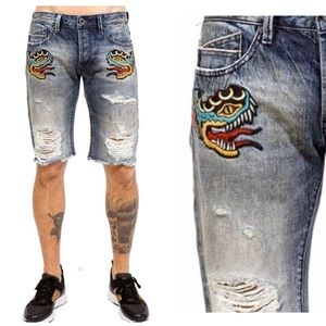 Cult Of Individuality Distressed Frayed Shorts 32